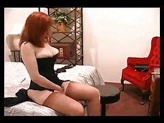 Stockings, Redhead, Hot milf in full fashion stockings