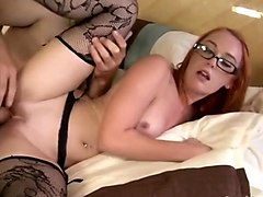 Glasses, Ass, Stockings, Sexy brunette in hot casting