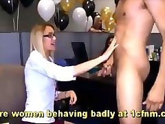 Hd, Office, Party, Son blackmail mother into blowjob